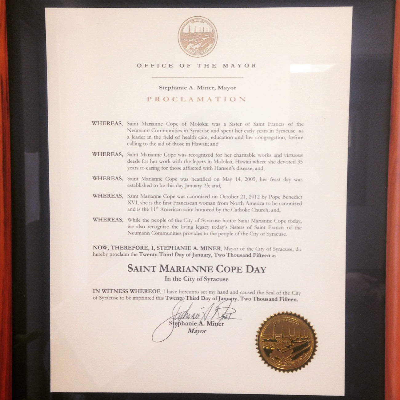 page 9 marianne proclamation color - Syracuse mayor declares Jan. 23 St. Marianne Cope Day