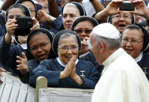 20150624cm01927 1 300x206 - Nuns greet Pope Francis as he arrives to lead weekly audience in St. Peter's Square at Vatican