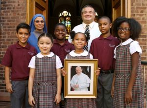 20150910cnsbr0583 1 300x221 - Nun and principal pictured with students selected to meet Pope Francis when he visits their neighborhood