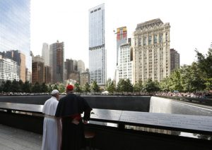 20150925cnsnw0459 1 300x213 - Cardinal Dolan stands with Pope Francis as he visits South Pool of national 9/11 memorial