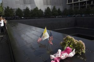 20150925cnsnw0465 1 300x200 - U.S., Vatican flags seen on edge of South Pool at national 9/11 memorial in New York