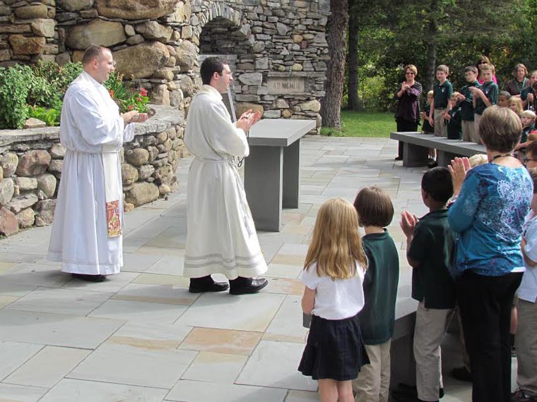 Rosary procession at Holy Family School
