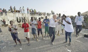 Father Bassano dances 1 300x178 - Priest lives with -- and dances with -- the displaced in South Sudan
