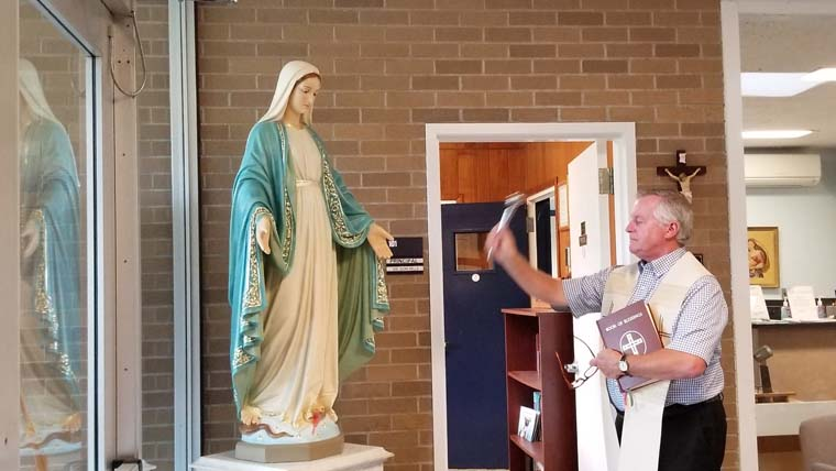 Restored statue blessed at IC School