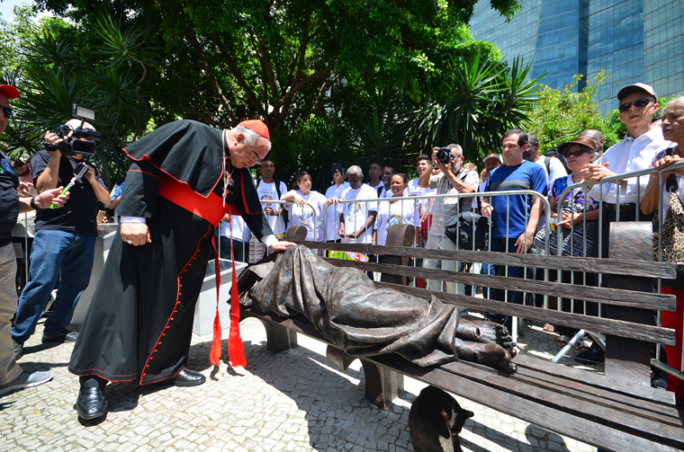 'Homeless Jesus' sculpture finds home outside Rio de Janeiro's cathedral