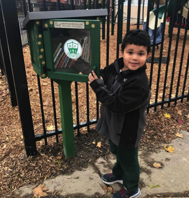 Little Free Library installed at Holy Family School