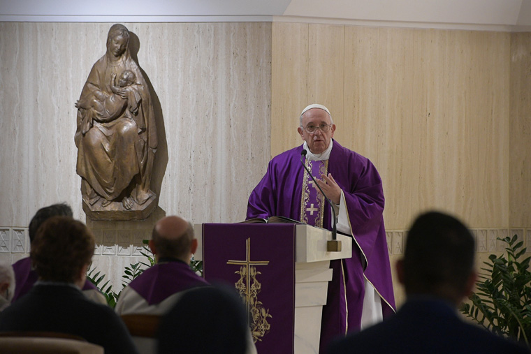 Pray with courage, pope says in morning homily