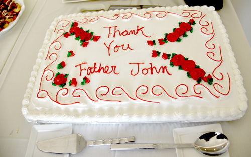 Father Rose cake - Father Rose, the workhorse, gets a warm sendoff