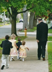 800 Bishop and kids walking sidewalk 219x300 - A half-century of service: Bishop Robert J. Cunningham reflects on his golden jubilee