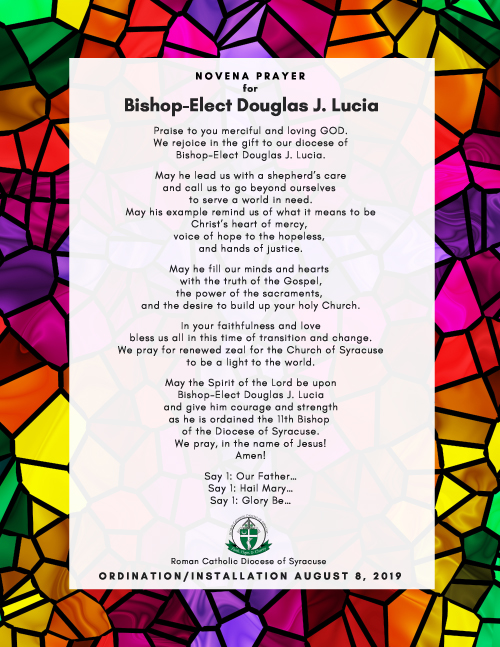 Novena Prayer for Bishop Lucia Flyer formatted - Novena for Bishop-elect Lucia to begin July 31