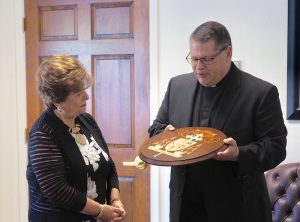 IMG 4844 300x222 - Pieces in place: New coat of arms for cathedra presented to bishop-elect