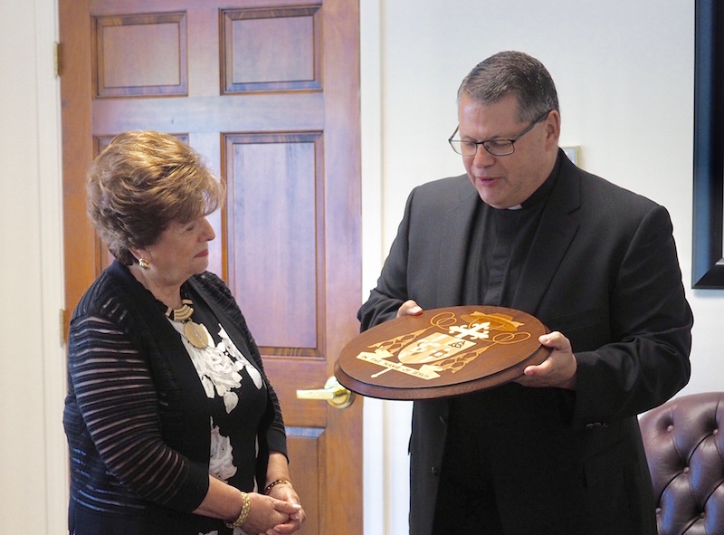 Pieces in place: New coat of arms for cathedra presented to bishop-elect
