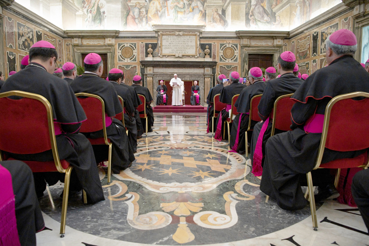 Roll up your sleeves, get ready to get dirty, pope tells new bishops