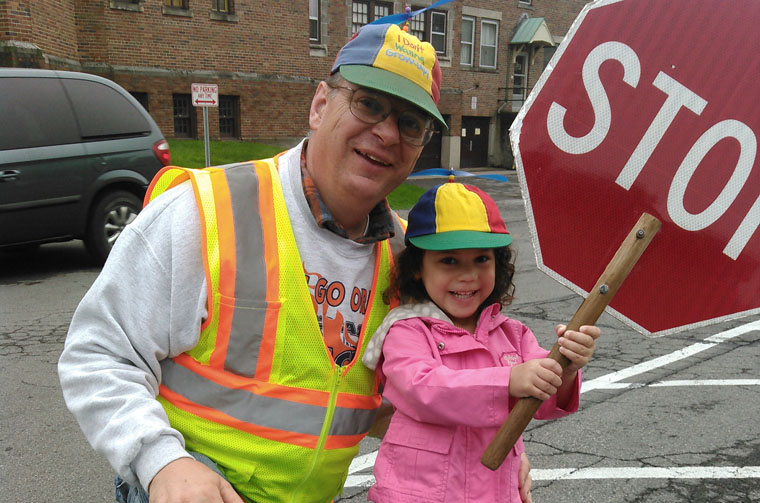 Mr. Decker, man of many hats, directing traffic  yet again at Blessed Sacrament School