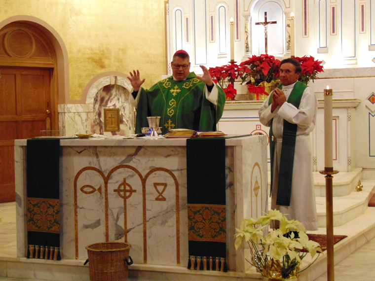 Bishop celebrates with Mount Carmel/Blessed Sacrament parishioners