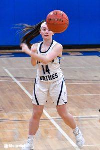 Grimes girl No. 14 passes ball 200x300 - Grimes girl No. 14 passes ball