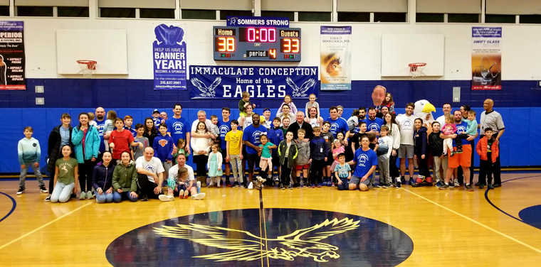 Dads Basketball Game at IC School raises money for Road to Emmaus