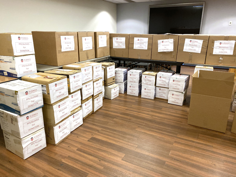 Catholic universities, and a high school, donate medical supplies to hospitals