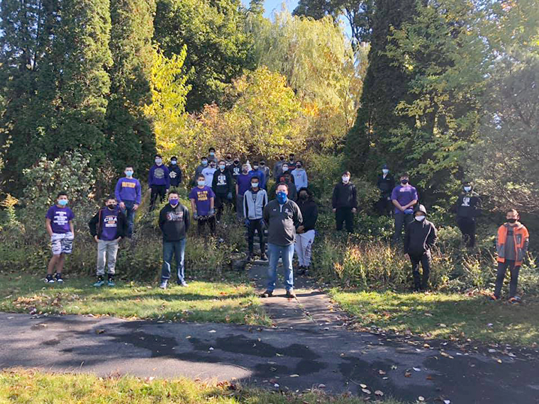 CBA football team helps out at Joseph's House