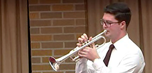 Aaron DuBois trumpeter color - 'Fine music given full heartedly' at St. Daniel's