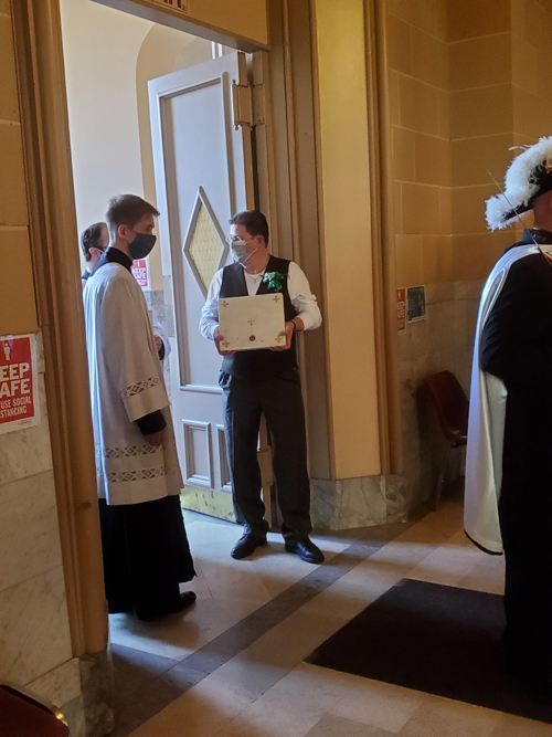 SPD Bing James Foley with 1st class relic of SP for altar - New altar dedicated at St. Patrick's