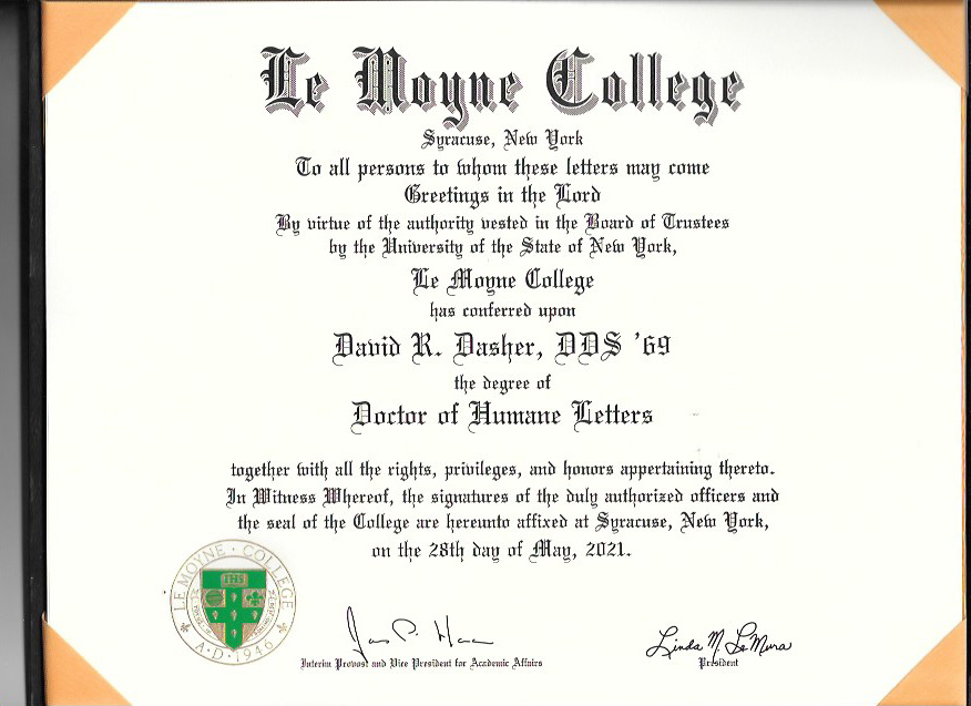 Dr Dasher s degree - My goodness, Le Moyne says, that's greatness! Alums honored