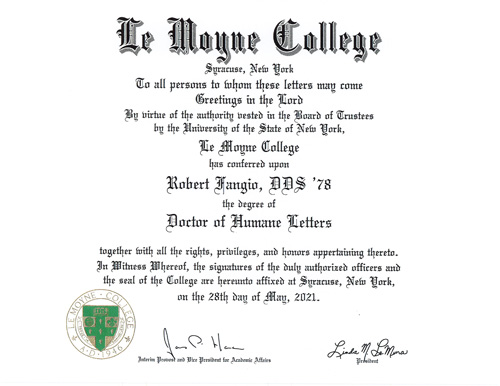 Dr Fangio s degree - My goodness, Le Moyne says, that's greatness! Alums honored