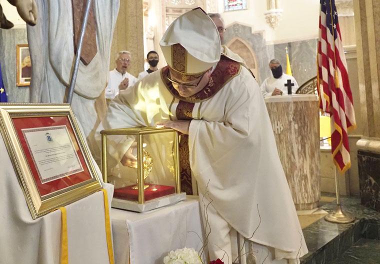 'What a joy': Bishop installs relic of Saint John Paul II at basilica in Syracuse