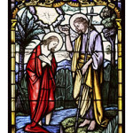 christbaptism 150x150 1 - CHRIST'S BAPTISM AT JORDAN RIVER DEPICTED IN STAINED-GLASS WINDOW