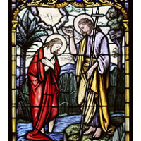 christbaptism 200x200 - CHRIST'S BAPTISM AT JORDAN RIVER DEPICTED IN STAINED-GLASS WINDOW