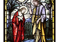christbaptism 203x146 - CHRIST'S BAPTISM AT JORDAN RIVER DEPICTED IN STAINED-GLASS WINDOW