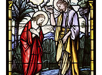 christbaptism 203x150 - CHRIST'S BAPTISM AT JORDAN RIVER DEPICTED IN STAINED-GLASS WINDOW