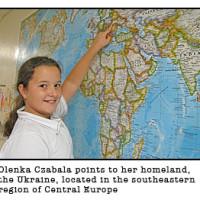 stjames olenka 200x200 - 001.jpgOLENKA CZABALA POINTS TO HER HOMELAND( Photo submitted )